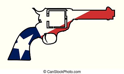 A wild west revolver in silhouette outline with the Texas flag below