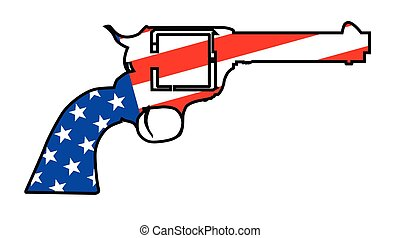 A wild west revolver in silhouette outline with the Stars and Stripes flag below