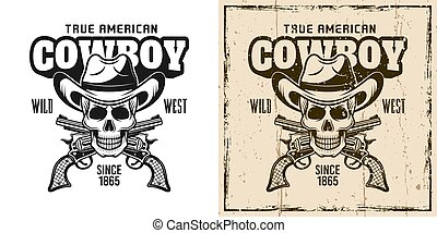 Cowboy skull and crossed pistols vector emblem