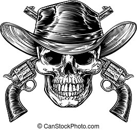 Cowboy Skull and Pistols - Skull cowboy in western hat and a...