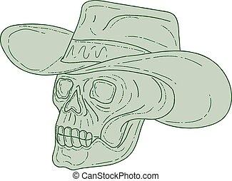 Cowboy Skull Drawing