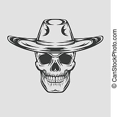 Cowboy skull drawing in a vintage retro woodcut etched or engraved style. Vector illustration