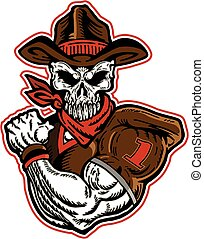 cowboy skull football player - muscular cowboy skull...