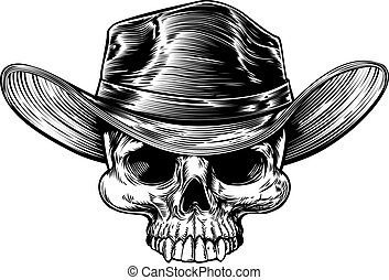 Cowboy skull drawing in a vintage retro woodcut etched or engraved style
