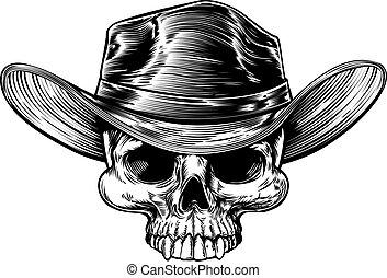 Cowboy Skull Hat Drawing - Cowboy skull drawing in a vintage...