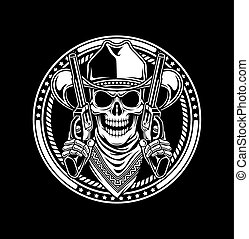 fully editable vector illustration (editable EPS) of cowboy skull hold guns isolated on black background, image suitable for crest, emblem, insignia, t-shirt design or tattoo
