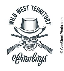 Cowboy skull in hat and crossed rifles
