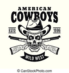 Cowboy skull in hat and two rifles vector emblem