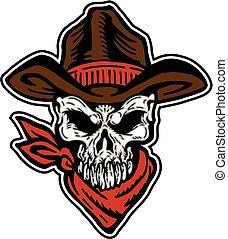 cowboy skull mascot with hat and bandana
