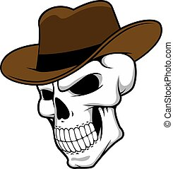 Cowboy skull wearing a stylish fedora hat