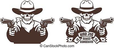 Cowboy Skull wild west gunfighter tattoo. Skeleton bandit ...