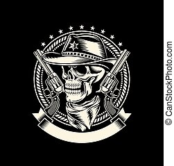 Cowboy Skull with Handguns - fully editable vector...