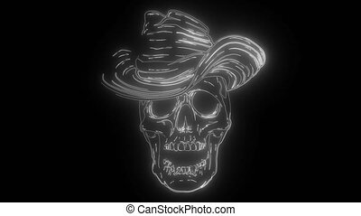Cowboy skull with hat digital neon video - Cowboy skull with...