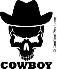 Cowboy skull with western hat