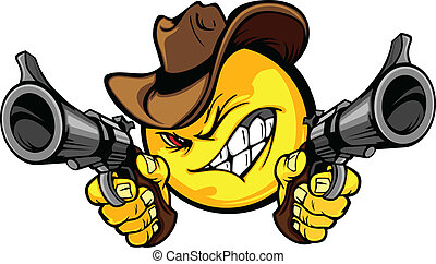 Cowboy Smile Face Vector Image Aiming Guns Illustration