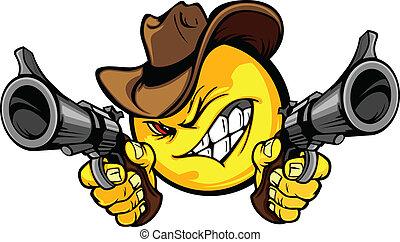 Cowboy Smile Face Vector Image Aiming Guns Illustration