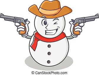 Cowboy snowman character cartoon style