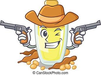 Cowboy soybean oil put in cartoon bottle
