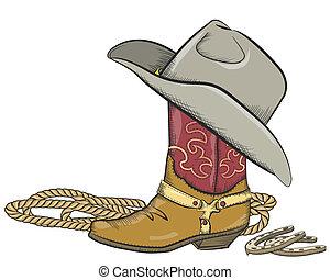 cowboy støvle, hos, vestlig hat, isoleret, på hvide