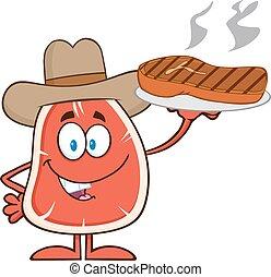 Cowboy Steak Cartoon Character - Cowboy Steak Cartoon Mascot...