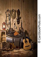Cowboy Still life - Still life of cowboy paraphernalia in...