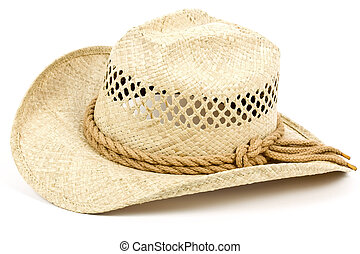9b760957e5e Traditional american cowboy straw hat isolated on black background ...