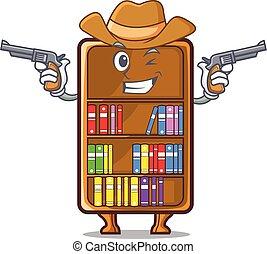 cowboy, studeren, naast, boekenkast, bureau, mascotte