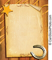 Cowboy style. Old paper background with sheriff star and ...