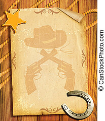 Cowboy style.Old paper background with sheriff star and horseshoe