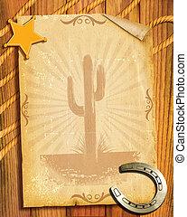 cowboy, style.old, papper, bakgrund, med, sheriff, stjärna,...