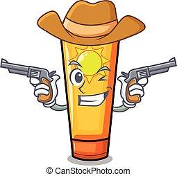 Cowboy sun cream in the mascot shape vector illustration