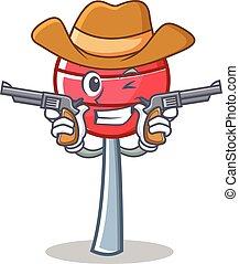 Cowboy sweet lollipop character cartoon