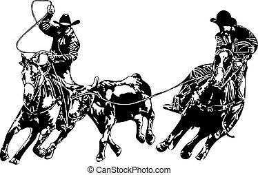 Cowboy Team Ropers - Two cowboys roping a steer, header and...