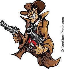 cowboy, tecknad film, sikta, vapen, maskot