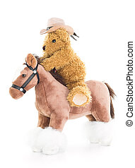 Cowboy Teddy bear riding a horses on white background