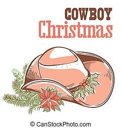 cowboy, tekst, vrijstaand, witte kerst, kaart