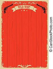 cowboy, tekst, westelijk, achtergrond, boordgeschut, rood