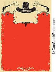 cowboy, testo, decoration., occidentale, fondo, manifesto, cappello, rosso