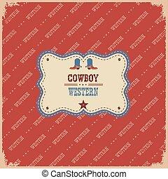 cowboy, testo, illustrazione, etichetta, fondo., occidentale