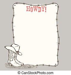 cowboy, testo, stivali, carta, occidentale, fondo, cappello