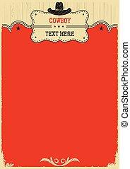 cowboy, text., decorazione, occidentale, fondo, cappello