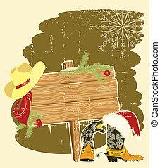 cowboy, text, rahmen, santa, holz, stiefeln, hintergrund, werbewand, wall.vector, hut, weihnachten, rotes