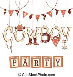 cowboy, text., vrijstaand, symbolen, ontwerp, westelijk, feestje, witte