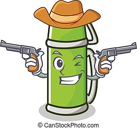Cowboy thermos character cartoon style