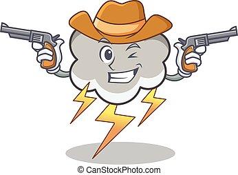 Cowboy thunder cloud character cartoon vector illustration