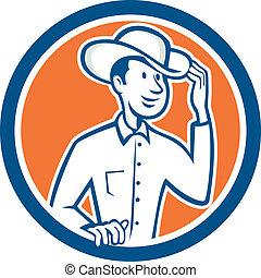 Cowboy Tipping Hat Circle Cartoon - Illustration of a cowboy...