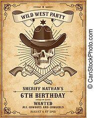 cowboy, tod, schablone, einladen