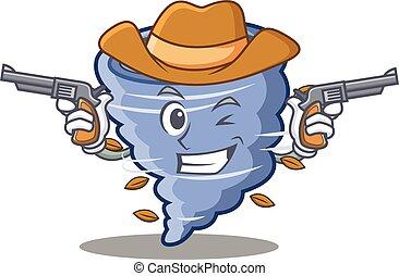 Cowboy tornado character cartoon style