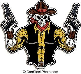 cowboy, totenschädel, gesicht