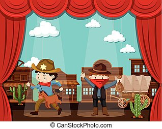 Cowboy town on stage with two kids acting